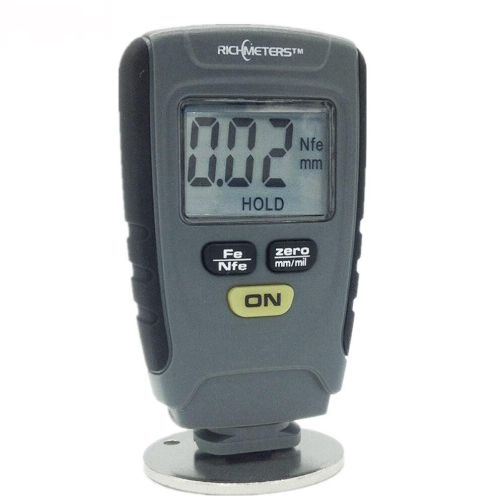 RICHMETERS RM660 Digital vernice di spessore di rivestimento indicatori vernice calibro di spessore Fe/NFe 0-1.25mm per Auto Ferro Base in alluminio del Metallo