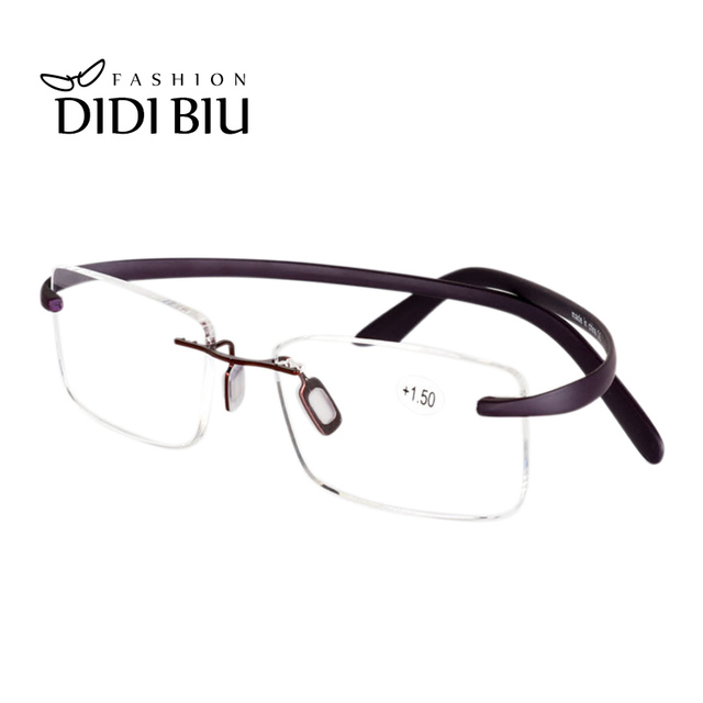 77c5f90f5a5 DIDI TR90 Titanium Reading Glasses Rectangle Rimless Diopter Eye Glasses  1.0 To 4.0 Optical Vision Old Prescription Eyewear H856