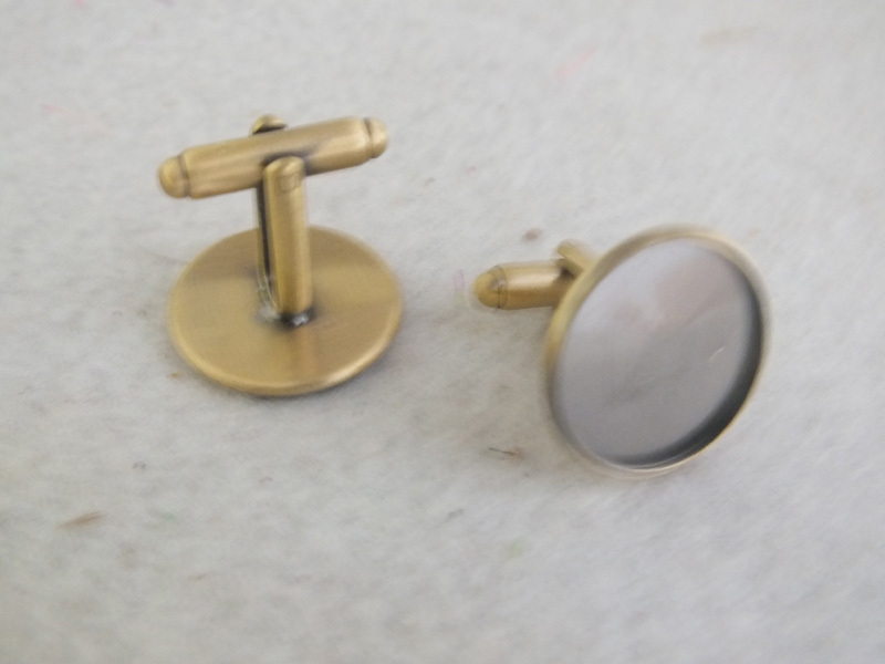Cufflink Blank French Findings Pad Bronze Z-3381 20mm Antique