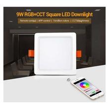 FUT064 Milight 9W RGB+CCT Square LED Downlight AC100~240V,FUT089 8-Zone Remote Controller