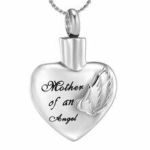 K9917 мама ангела сердечко кремация ювелирные изделия для кулон с пеплом на заказ Выгравированный из нержавеющей стали Урна памятный сувенир ожерелье