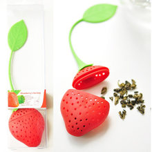 1Pc lovely Reuseable Foof safe Silicone Red Strawberry Shape Tea Leaf Bag Holder Tea Coffee Punch Filter Tea Infuser(China)