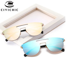 CIVICHIC New Fashion Brand Designer Women Sunglasses Female Cat Eye Oculos De Sol Hipster Mirror Plated Glasses UV400 Specs E365