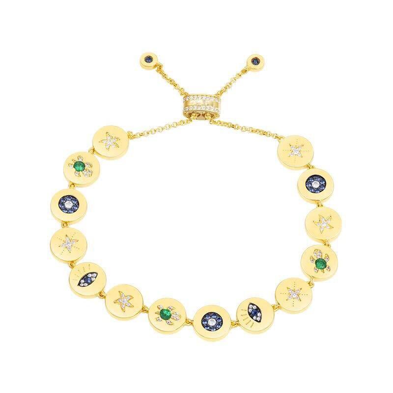 SLJELY 925 فضة الذهب الأصفر اللون عملة البطانة الزركون محظوظ رمز العين البحر سلحفاة نجمة سلسلة سوار مجوهرات فاخرة-في سلاسل وأساور من الإكسسوارات والجواهر على  مجموعة 1