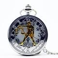 PB455 Весы Двенадцать Созвездий Silver Кварцевые Карманные Часы Кулон Ожерелье Женщин Людей Часы Цепи Мальчики Девочки Подарок