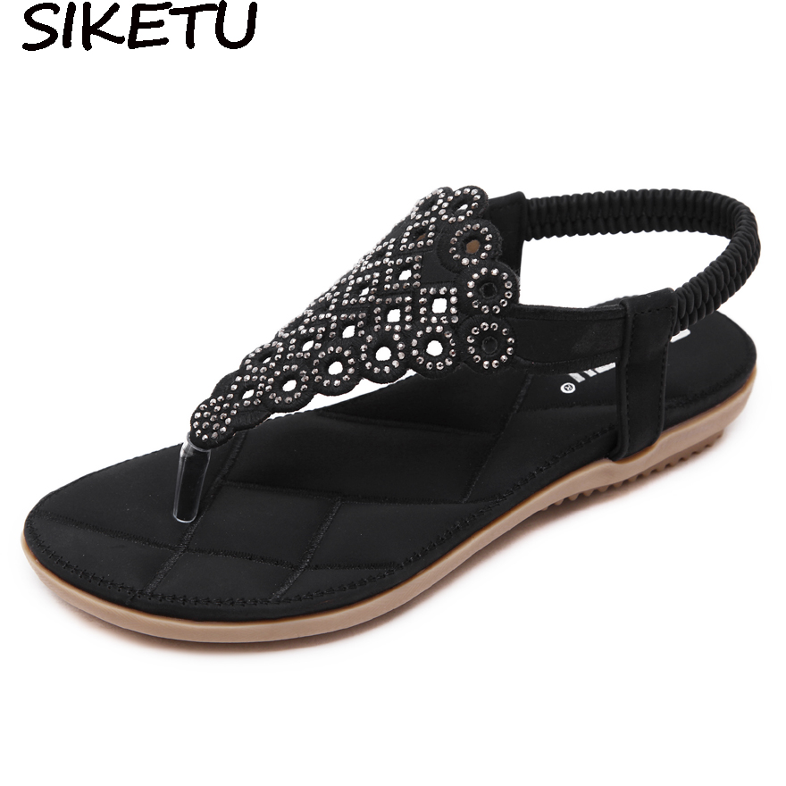 SIKETU Plus Size 35-41 Women Cut Out Rhinestone Crystal Bohemian Sandals Summer Beach Shoes Casual Woman Thong Flat Heel Sandals