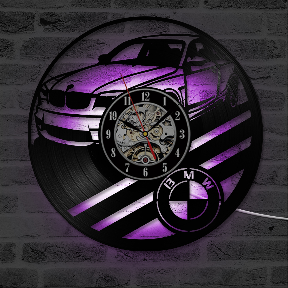 LED Record Wall Clock Decorate your home with Modern Art Gift for men and women, girls and boys BMW Car Vinyl