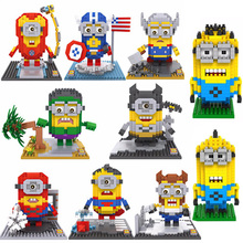 Minion Super Heroes Diamond LOZ Building Blocks Mini Bricks Toys Educational DIY Toys for Children Compatible