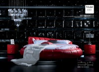 designer modern genuine real leather soft bed/double bed king/queen size bedroom home furniture round bed modern style