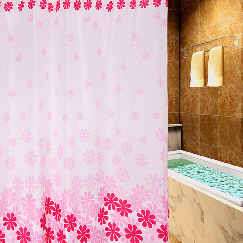 new pink four color peach thickening waterproof and anti mildew printed shower curtain does