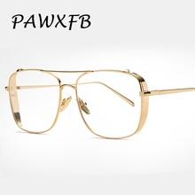 PAWXFB 2018 New Vintage Clear Lens Glasses Metal glasses Gold Frames Women Men Myopia Female Optical Eyeglasses Oculos