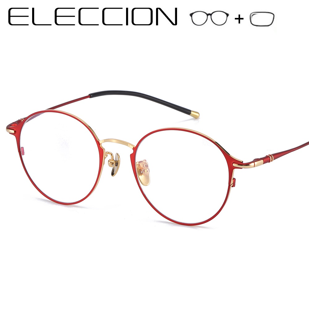 ELECCION Optical Prescription Glasses 2019 New Full Frame Women's Myopia Eyeglasses Round Metal Corrective Vision Eye glasses(China)