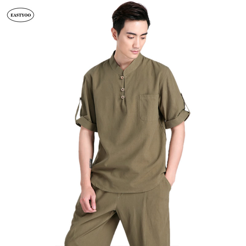 Loose Linen Shirt Men Summer 2017 Army Green Casual Shirts Plus Size 3XL Tai Chi Clothing Linen Dress Shirts Kung Fu Shirts