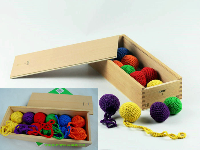 Baby Toys Froebel Color Cognitive Developing Wooden Toys GABE1 Teaching Learning 12 Ball 6 Colour Child Gift
