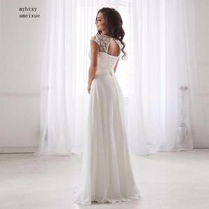 Image 5 - 저렴한 특종 목 레이스 웨딩 드레스 2020 민소매 주름 벨트 쉬폰 비치 웨딩 드레스 로브 드 Soiree 오픈 다시 Casamento