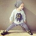 2016 Autumn New Kids Boys Clothes Fashion Long Sleeve Cartoon T-Shirt+Striped Pants 2pcs Children Clothing Boys Clothing Set