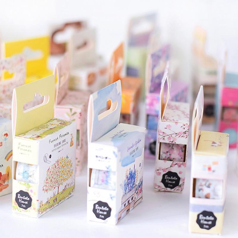 15mm*7m Japanese Washi Masking Tape Flamingo Flower Paper Masking Tapes Washi Tape DIY Scrapbooking Sticker