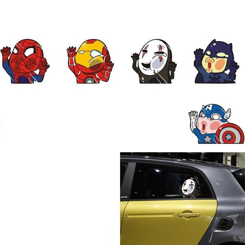 Car Sticker Design Batman Spiderman Captain America No Face Man  Iron Man Hits Glass Car Fun Personality Sticker Decoration