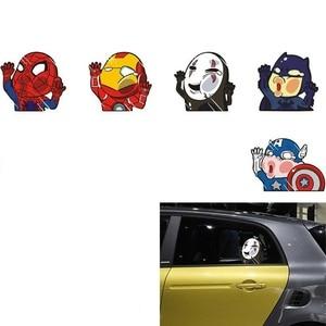 Car sticker design Batman Spiderman Captain America No Face man Iron Man hits glass car fun personality sticker decoration(China)