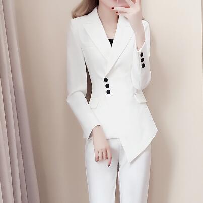 D'affaires Pantalon Costumes Mince Pour Dc773 Bureau Femelle Costume Femmes Veste Cran Blanc Revers De Smokings wES4qnv