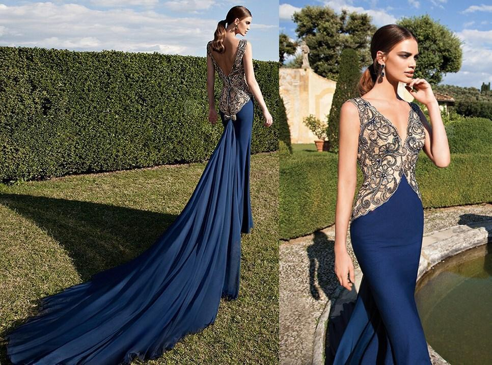 Royal Blue Long Mermaid Court Train Prom Dresses 2015 Party Queen ...