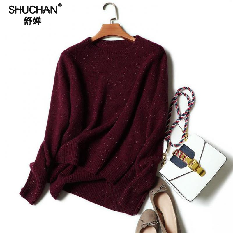 SHUCHAN Autumn Winter Women Cashmere Knitted Sweatera Christmas Sweater Cashmere Knitted Pullover O-neck Irregular Hem 17508
