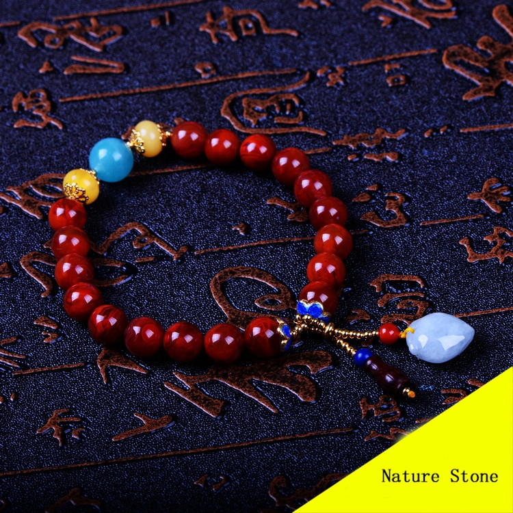 Fashion 8mm Red Southern & Blue Aquamarine & Nature Beeswax Bracelet Women Gift Jewelry Single String Tassel Bracelet NH014 fashion 5mm red southern bracelet women gift jewelry three several string long bracelet nh012