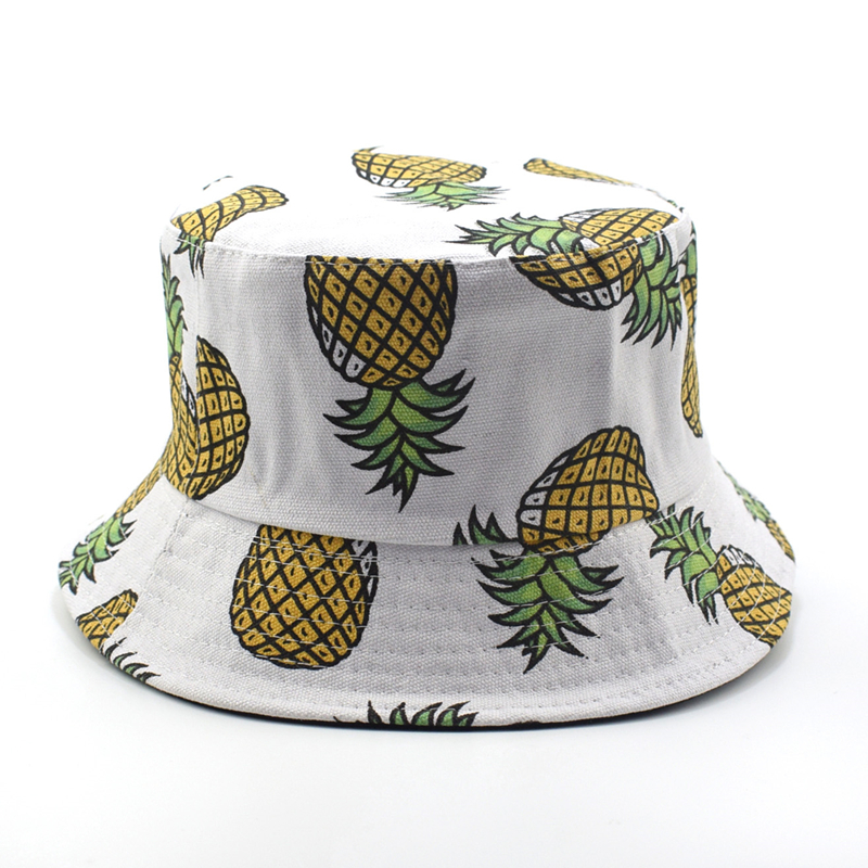 5b7a9ea209b New Fashion Lovely Summer White Pineapple Printed Bucket Hats Outdoor  Pineapple Fishing Sun Caps Men women cap
