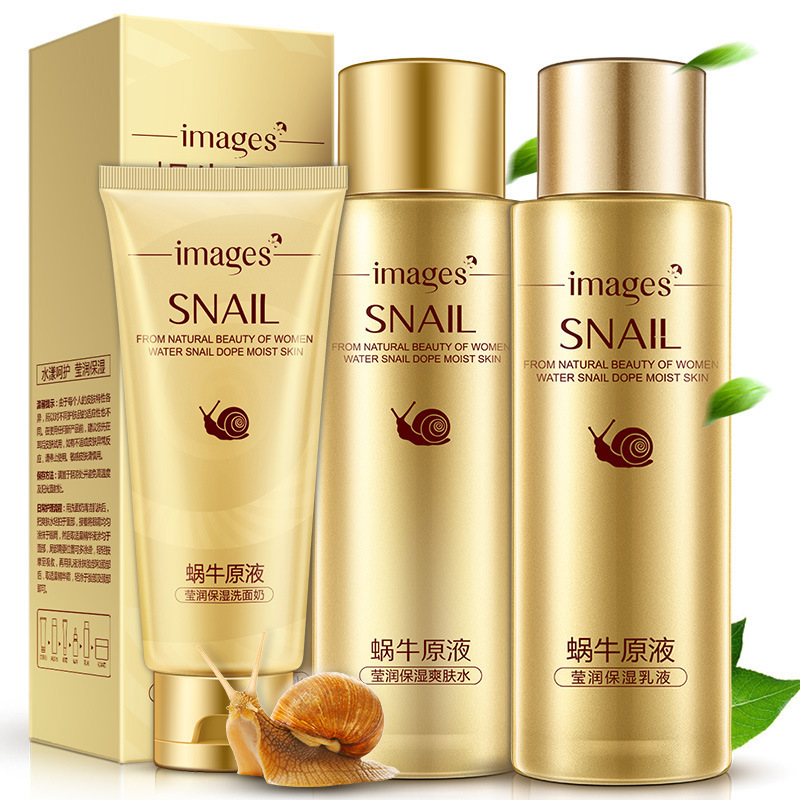 Images Snail Mucus Moisturizing Set Skin Care Brightening Nourishing Oil-control Anti-aging Anti-wrinkle Cleanser, Toner, Lotion brightening skin color 1000g with a wrinkle neck striate tight moisturizing mask for living cells