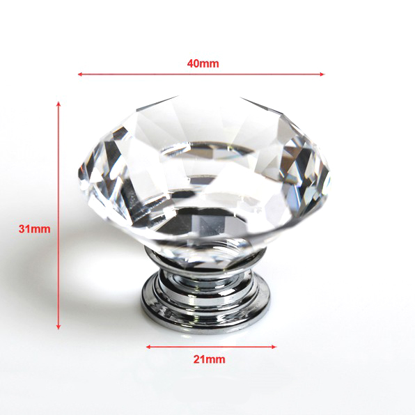 10pcs/lot 40mm Clear Diamond Shape Crystal Glass Pull Handle Cupboard Cabinet Drawer Door Furniture Knob SJ-1012 10pcs set drawer furniture knob pull handle use for knob cupboard cabinet drawer fittings gold diamond crystal shape acrylic