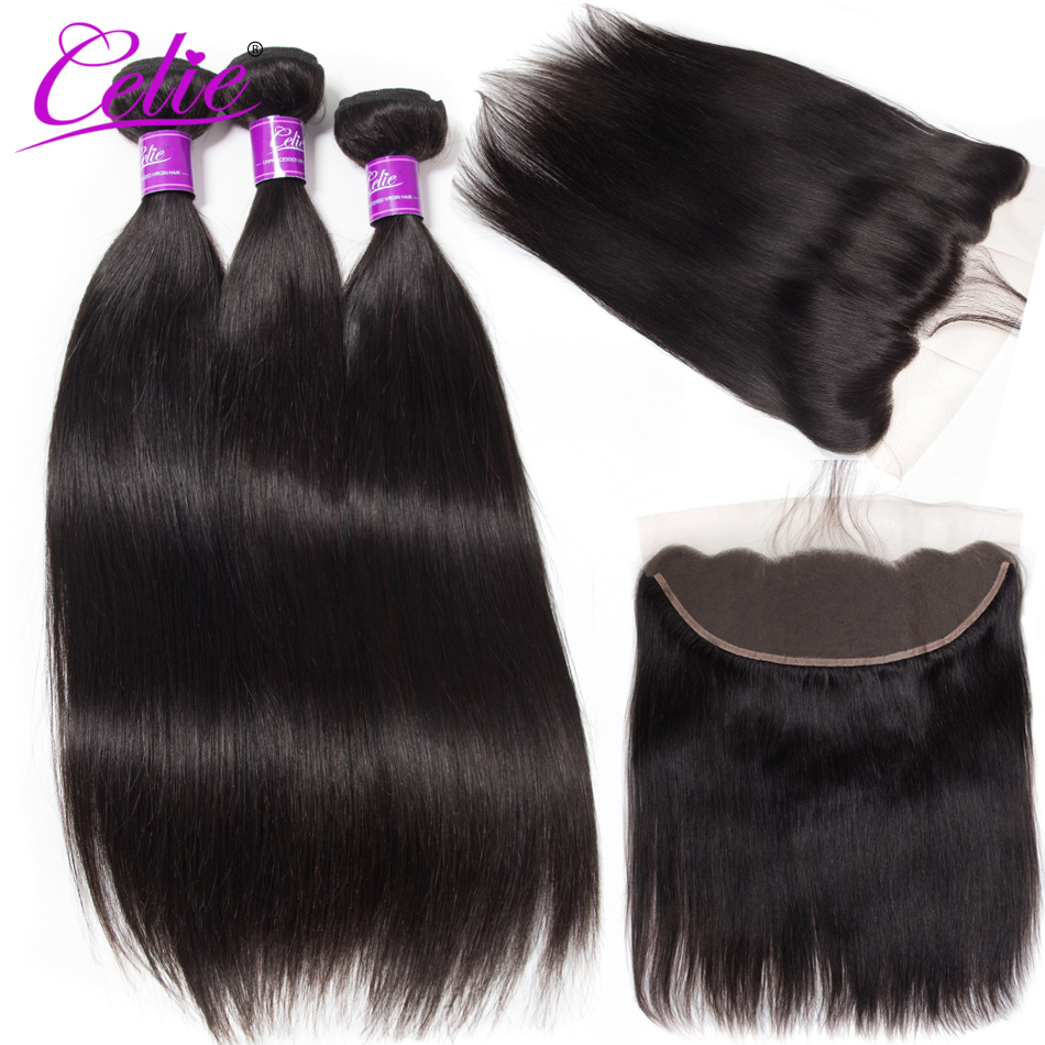 Celie Hair Brazilian Straight Hair Bundles With Frontal Remy Lace Closure Frontal With Bundles Human Hair