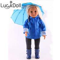 Luckdoll rainwear Six Piece Doll clothes fit 18 Inch doll, Children's Best Birthday Present