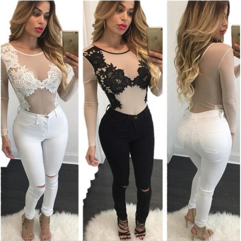 93b4b4c772 2016 Women New Hot Sexy See Through Sheer Mesh Floral Lace Embroidery  Bodycon Tops Bodysuit Jumpsuit Playsuits Rompers Overalls-in Bodysuits from  Women s ...