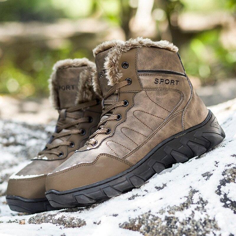 Black Para Tamanho Pele Dos Inverno black Couro 1 Botas Pinsv Genuíno 2 Neve 2018 46 brown De Homens 39 Quentes Lace Sapatos up 1 06wv0xZqUE