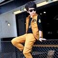 Подростки одежда мальчики дети уличная 3 Шт. комплект одежды жилет + брюки + майка большой размер осень
