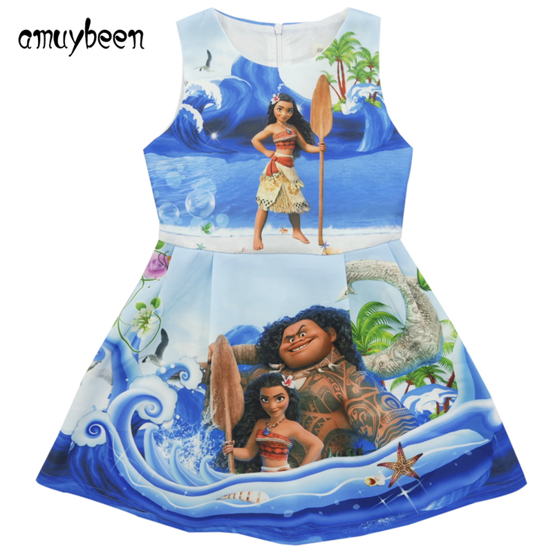 Amuybeen Girls Dress 2017 New Summer Moana Dress Costume Baby Girl Princess Children Clothing Blue Halloween Party Kids Clothes 2017 new girls dresses for party and wedding baby girl princess dress costume vestido children clothing black white 2t 3t 4t 5t