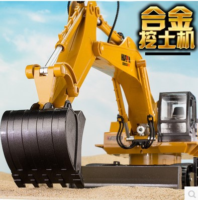 RC Excavator 15 CH 2.4G Metal Electric Remote Control Car USB Charging Led Flashing Light and Sound Truck Model Toy