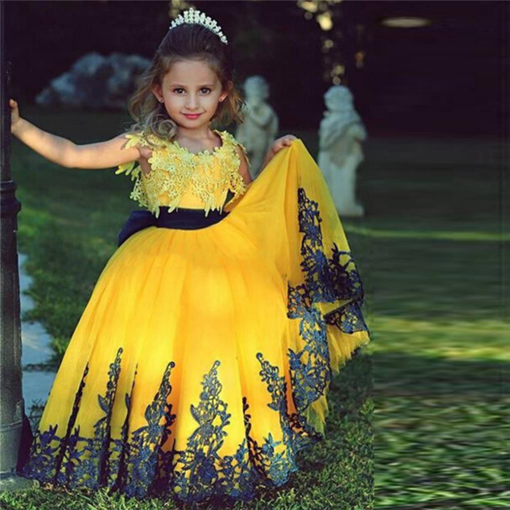 Bright Yellow Lace Flower Girl Dresses For Weddings Girls Pageant