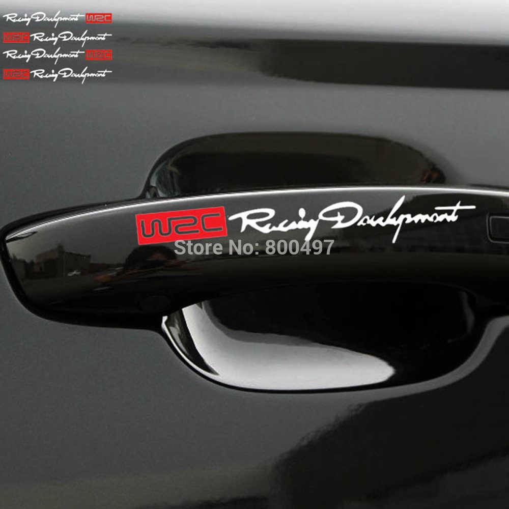 4 x voiture style mode WRC monde course développement créatif voiture porte poignée décalcomanies double couleur Design autocollants vinyles Stickers