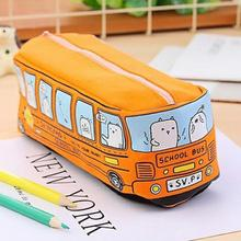 Student Pencil Bag Stationery Cartoon Bus Shape Canvas 19*6.5cm Case Storage D15