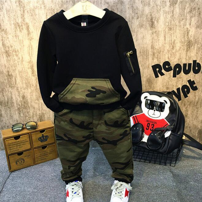WENDYWU Autumn Baby Boys Camouflage Family Clothing Suit Army Sweatshirt T Shirt + Casual Pants Two Piece Set Kids Fashion Wear
