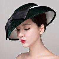 Hurtownie Velvet tkaniny perły kobiety Elegancki kapelusz Women Koktajl Wedding Bridal włosów akcesoria Dinner Party Nakrycia Głowy włosy kapelusz