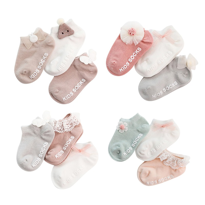 3Pcs Summer Toddler Solid  Lace Bow Socks Kids Baby Boys Girls Cotton Breathable Anti Slip Indoor Walk Short Socks 0-3 Years Age