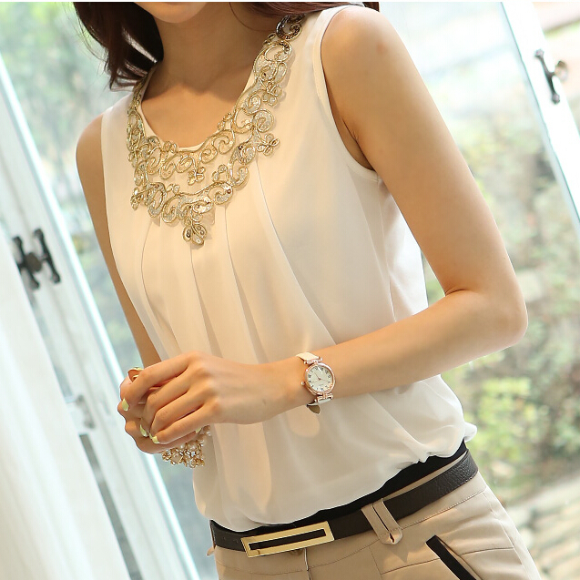 5c8c2af88333b blusas femininas 2015 sleeveless chiffon summer tops Loose white blouse  shirt women blouses elegant woman clothes plus size XXXL