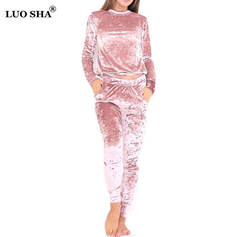 LUO SHA 3XL 6 Color Velvet Tracksuit Women Costume Velvet Set Long Sleeve Top+Pant Velour Tracksuit Sets for Women Sporting Suit