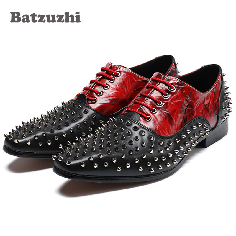 Здесь можно купить  Luxury Men Leather Shoes with Rivets Studs Oxford Dress Shoes Prom and Banquet Men Party Footwear Black Red Spikes Shoes Men  Обувь
