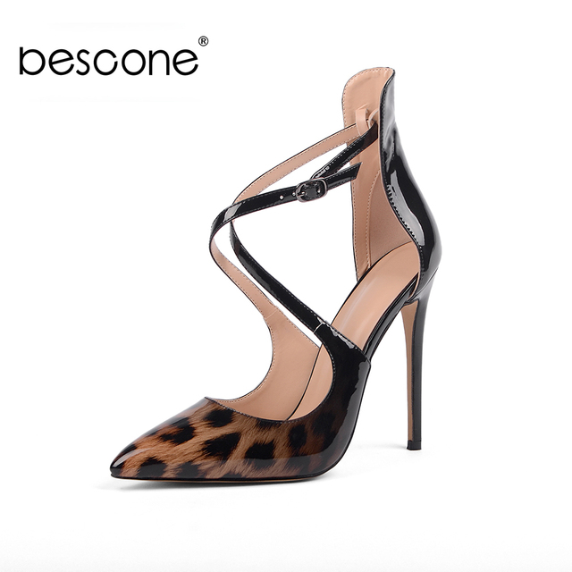BESCONE New Fashion Thin Heel Buckle Women Pumps Casual Handmade 12 cm Super High Heel Shoes Sexy Pointed Toe Ladies Pumps BY03