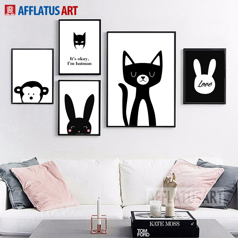 Black White Rabbit Batman Wall Art Canvas Painting Nordic Poster And Prints Cartoon Animals Pictures For Kids Room Decor