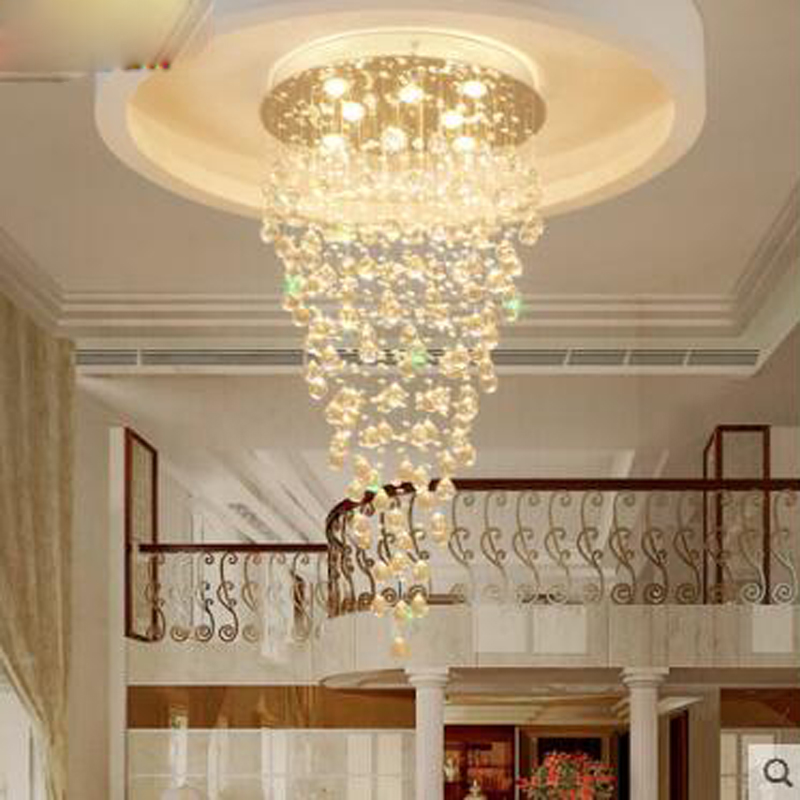 info for c9367 3d318 US $176.0 60% OFF|Double staircase chandelier Spiral staircase lamp Long  chandelier Villa stairs Crystal chandelier Meteor shower Living room  lamp-in ...