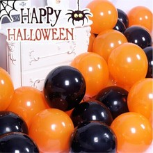 hot deal buy 50pcs/lot10 inch thick latex round orange black baloon decorations halloween ballons birthday party balloons wedding supplies